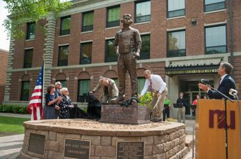 Friends, family and dignitaries gathered on the Northern State University campus in Aberdeen June 14 to dedicate a statue of Cresbard native Cecil Harris, the U.S. Navy's second-highest scoring ace during World War II.