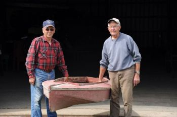 Ed Staudenmier and Dick Kafka of the Charles Mix County Museum in Wagner recently obtained a kayak made by a Fort Randall dam builder of scrap canvas and lumber found at the dam site.