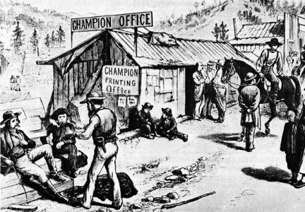 When Charlie Collins started the Black Hills Champion in Central City in 1877, this illustration of the colorful character was published in the noted Frank Leslie s Illustrated Weekly. Collins is the bald fellow, with arms folded, near the doorway.