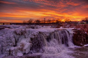 The first photo of a magnificent sunset above Falls Park in mid-February.