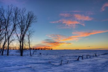 January sunset west of Sioux Falls.