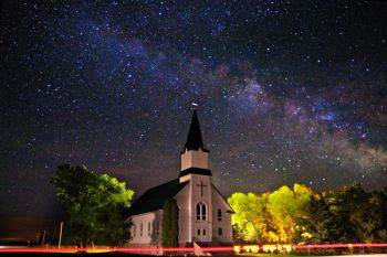 The Milky Way over Immanuel Lutheran Church south of Canova.