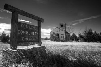 Dowling Community Church at a country crossroads in Haakon County.