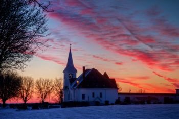 West Nidaros Lutheran Church near Baltic at sunrise.