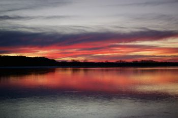 Missouri River sunset in Clay County.