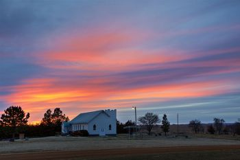 Sunset over Immanuel Lutheran, Zeona.