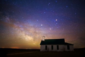 Divine Infant Mission Church with the Milky Way.