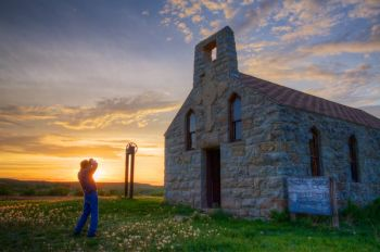This is my dad, Charles Begeman, while we visited the old stone church last Memorial Day weekend to take photos during the sunset.