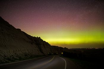 Northern lights in the Badlands.