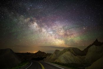The Milky Way rising in the Badlands.