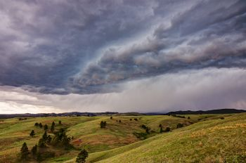 Spring thundershower over northern Wind Cave National Park.