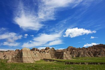 Blue sky badlands.