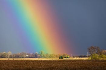 The promise of spring with a rain shower and rainbow near Dolton.