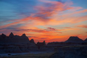 Dawn at the Badlands from just off the park road near the Door and Window trails.