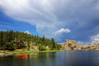 Afternoon thunder cloud over Sylvan Lake.