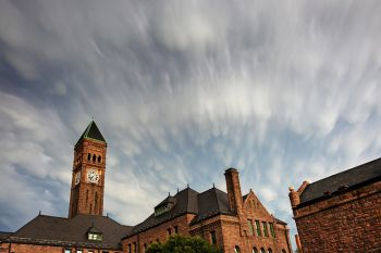 Post storm clouds above the Old Courthouse Museum in downtown Sioux Falls.