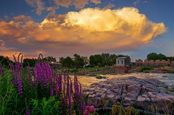 Billowing clouds above Falls Park in downtown Sioux Falls.