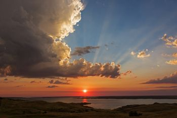 Sunset after the rain above Lake Oahe at Bush's Landing in rural Sully County.