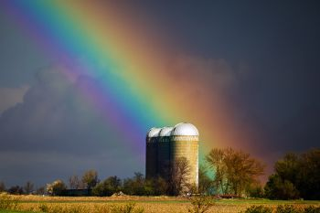 Rainbow over silos east of Baltic.