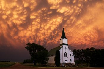 Mammatus clouds above Immanuel Lutheran.