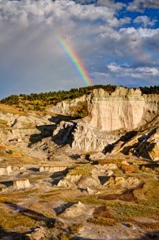 The same rainbow from the Castles outlook in the Slim Buttes.