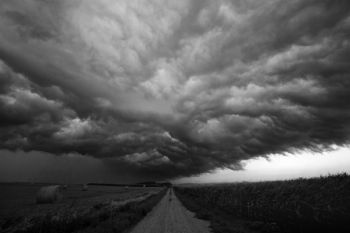 Storm clouds can be very dramatic in black and white photography as demonstrated by this shot taken west of Garretson.