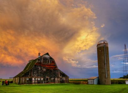 Storm clouds over a barn and silo east of Dell Rapids.