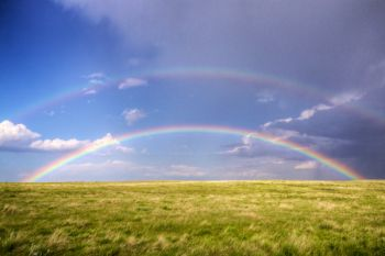 A double rainbow over the prairies of Ziebach County after a June rain shower.
