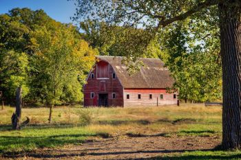 The first touches of fall frame this barn near Choteau Creek in southwestern Bon Homme County.