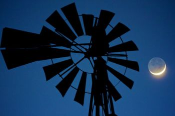 An old windmill with a crescent moon in Turner County.