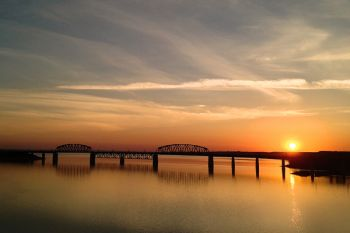 This sunrise photo of the railroad bridge at Mobridge was taken with my iPhone while driving into town.