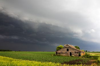 McCook County barn with approaching storm.