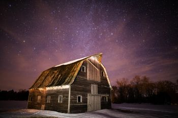 Winter stars over a Charles Mix County barn.