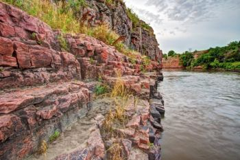 Sioux quartzite cliffs in the Dells of the Big Sioux gorge.