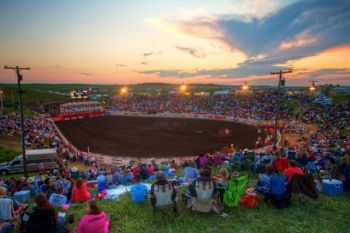 The natural rodeo bowl of Crystal Springs Rodeo near Clear Lake, South Dakota. Click to enlarge pictures.