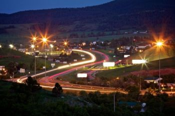 A modern-day view of the racetrack as traffic from I-90 races along the outskirts of Sturgis.
