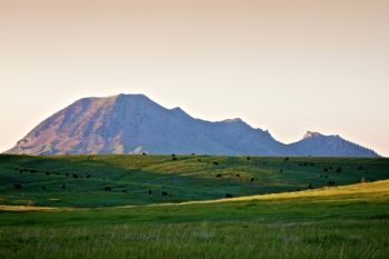 Bear Butte in the evening. The recreation area offers many great views of the butte and the prairies that surround it.