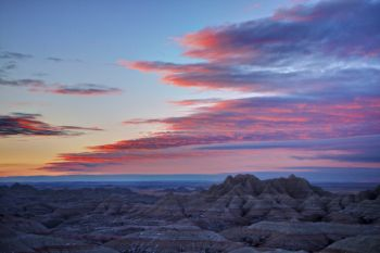 Predawn clouds over Badlands National Park. Click to enlarge photo.