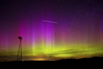 The straight, bright line in the sky was caused by the International Space Station.