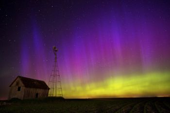 The aurora looked like a giant illuminated curtain in the sky.