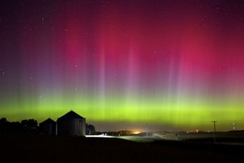 Rare red aurora on night of October 1. This image was taken in central Minnehaha County.