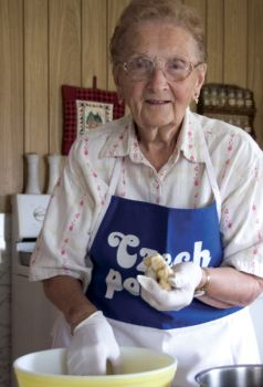 Tillie Varilek of Tyndall sported a apron proclaiming 'Czech Power' when she showed us how to make plum dumplings.