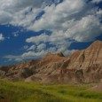 Cumulus clouds over the Badlands.