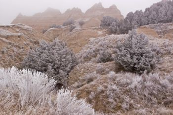 January is the coldest month in the Badlands. The average low temperature is 11 degrees and the average high is 34 degrees.