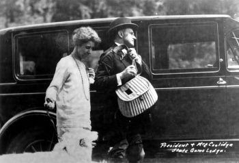 President Coolidge and his wife, Grace, vacationed in South Dakota for three months at the State Game Lodge.