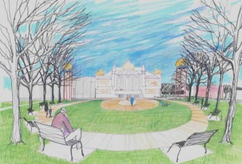 An artist's rendering shows a park across the street from Mitchell's Corn Palace.
