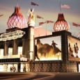 An artist s drawing of the  new  Corn Palace, with the lighted domes.