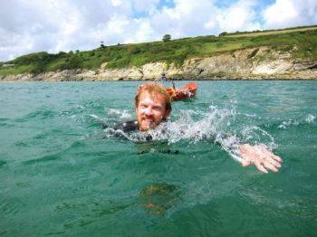 Dave Cornthwaite practices for his Missouri River swim with a dip off the coast of Cornwall. See more photos on his <a href='https://www.facebook.com/media/set/?set=a.445200105501846.97792.131944536827406&type=1' target='_blank'> Facebook page</a>.