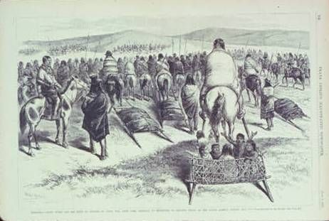 An artist s drawing of Crazy Horse and his Lakota people as they traveled to the reservation in 1877.