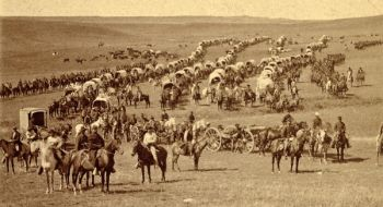 About 110 wagons carried supplies for the voyage across the plains.